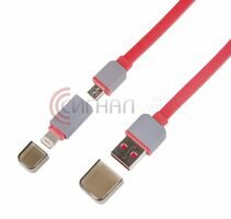 USB кабель 2 в 1 для iPhone 5/microUSB slim красный (18-4279)